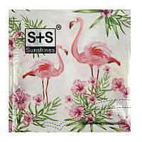 """Салфетки бумажные """"Розовый фламинго"""" 20шт/уп 33*33см"""