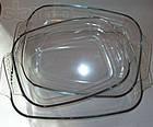 Набор стеклянных противней A-PLUS 3 шт, набор прямоугольных портивней из жаропрочного жаростойкого стекла, фото 7