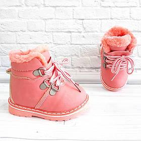 Черевички для дівчат (хутро) на шнурівках та замочку. Розмір: 18-23