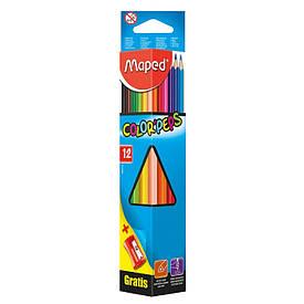 Цветные карандаши набор Maped COLOR PEPS Classic 12цв с точилкой (MP.183213)