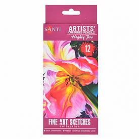 Цветные карандаши набор Santi Highly Pro художественные 12шт (742389)