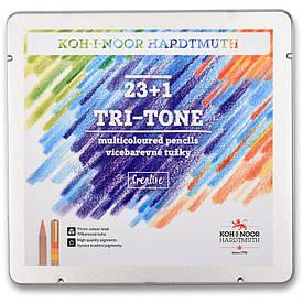 Олівці кольорові Koh-i-noor TRI-TONE 23+1 в метал.пеналі (3444)