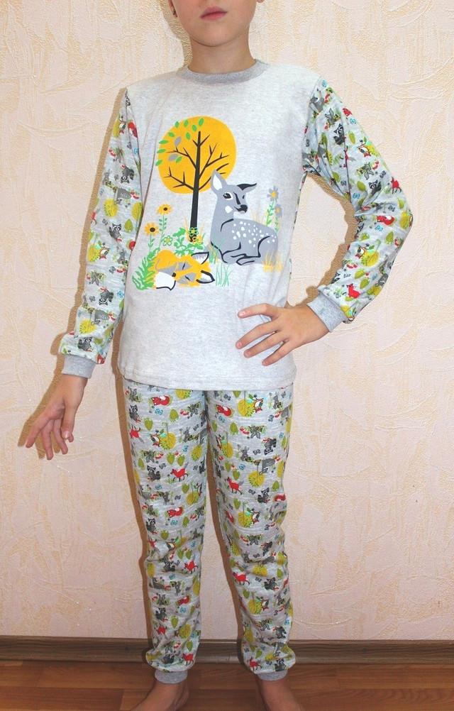 Детская пижама для девочки интерлок серая 28-40 р.