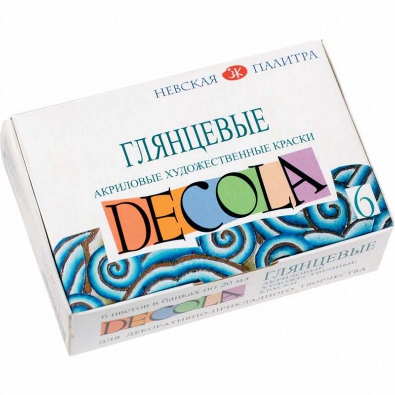 Акриловые краски ЗХК Decola набор 6 цветов по 20мл глянцевые (350421)