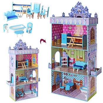 Кукольный деревянный домик с мебелью, 3 этажа, 143*82*30 см, MD 2410 Гарантия качества Быстрая Доставка