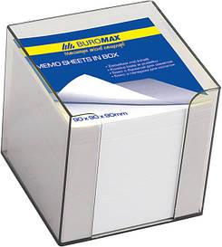 Бокс з папером Buromax біла 90х90х90мм 1000 аркушів димчастий BM.2290-02