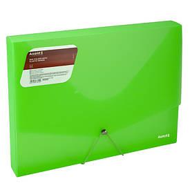 Папка на гумках Axent А4,прозора,зелена 1502-26-a