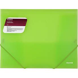 Папка на резинках Axent A4,прозрачная,зеленая 1501-26-a