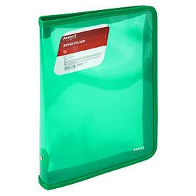 Папка на блискавці Axent B5,прозора, зелена 1802-26-a