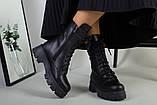Ботинки женские кожаные черные на шнурках и с замком зимние, фото 3