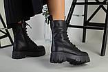 Ботинки женские кожаные черные на шнурках и с замком зимние, фото 4