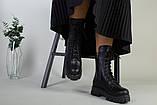 Ботинки женские кожаные черные на шнурках и с замком зимние, фото 5