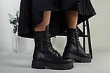 Ботинки женские кожаные черные на шнурках и с замком зимние, фото 7