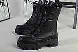 Ботинки женские кожаные черные на шнурках и с замком зимние, фото 8