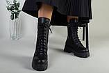 Ботинки женские кожаные черные на шнурках и с замком зимние, фото 9