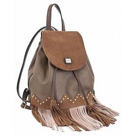 Сумка-рюкзак YES, коричневий з бахромою, 25x21.5x21