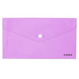 Папка-конверт  DL Axent Pastelini  на кнопке сиреневая (1414-36-A)