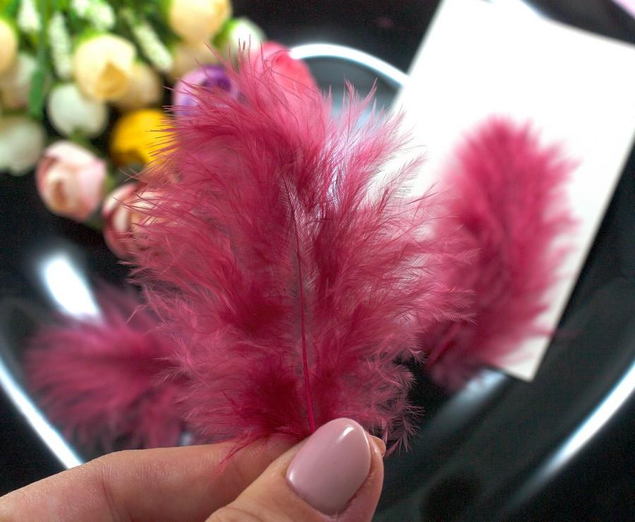 Перья пушистые 6-10см, ∼100шт, dz перья цвет Винный
