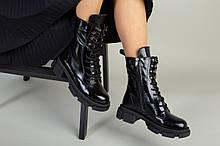 Ботинки женские кожа наплак черные на шнурках и с замком зимние