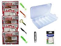 Набор спиннинговых рыболовных приманок - съедобный силикон Fanatik 5 упаковок, для ловли хищной рыбы