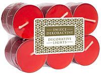 Свечи декоративные чайные красные (12 шт)