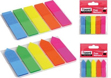 Закладки Axent пластикові 5х12х50 мм 125 шт прямокутна 2440-01-А