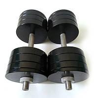 Гантелі металеві Розбірні 2 шт по 34 кг полімерне покриття для будинку спортзалу (загальна вага 68кг набірні)