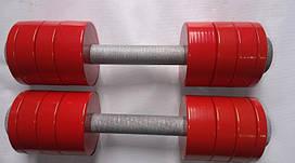 Гантелі 2 по 10 кг розбірні метал з покриттям (металеві гантелі розбірні з покриттям наборні набірні)