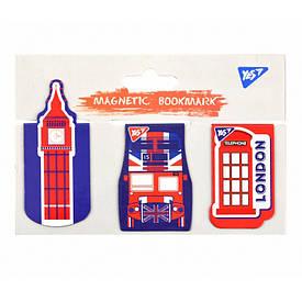 """Закладки магнітні YES """"London"""", висічка, 3шт"""