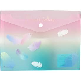 Папка на кнопці А5+, Colourful Feather 01