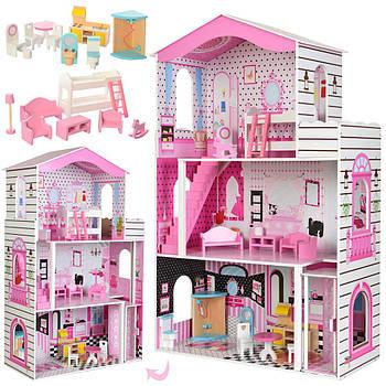 Дитячий дерев'яний ляльковий будиночок MD 2476 3х поверховий з комплектом меблів Швидка Доставка Гарантія