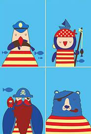 Набір картина за номерами Rosa Kids для юного художника Малювалка Морська команда 20х30см (4823086707
