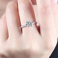 Женское кольцо с серебряным кристаллом, медсплав, кольцо с сверкающими камушками FS1719-75