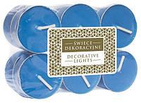 Свеча чайная декоративная синяя (12 шт)