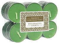 Свеча чайная декоративная зеленые 12 шт