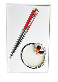 Набір подарунковий Crystal: ручка кулькова + гачок д сумки червоний