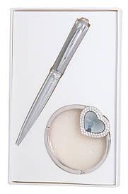 Набір подарунковий Crystal: ручка кулькова + гачок д сумки сірий