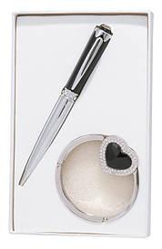 Набор подарочный Crystal: ручка шариковая + крючек д сумки чёрный