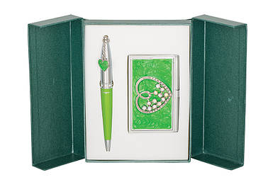 Набір подарунковий Crystal Heart: ручка кулькова + візитниця зелений