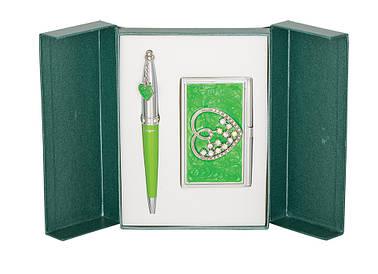 Набор подарочный Crystal Heart: ручка шариковая + визитница зеленый
