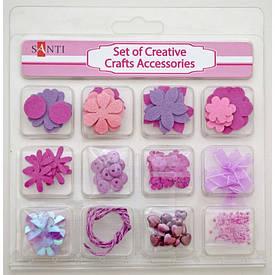 Набір декоративних прикрас для скрапбукінгу, 12шт/уп., рожевий