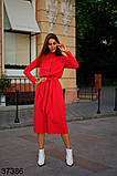 Женское красное платье миди с карманами р. 42-46, фото 2