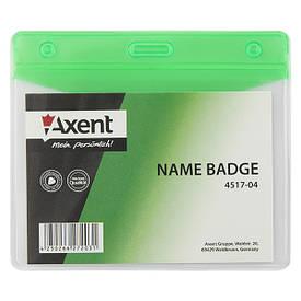 Бейдж горизонтальний Axent 100х70мм матовий зелений 4517-04-A