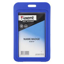 Бейдж вертикальний Axent 50х84мм PP у рамці глянцевий синій 4530-07-A