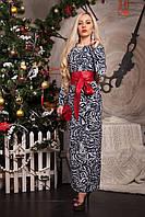 Модное платье из принтованой ткани в пол декольте украшено камнями и поясом