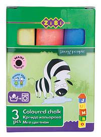 Крейда кольоровий ZiBi JUMBO 3 кольорів картон ZB.6709-99