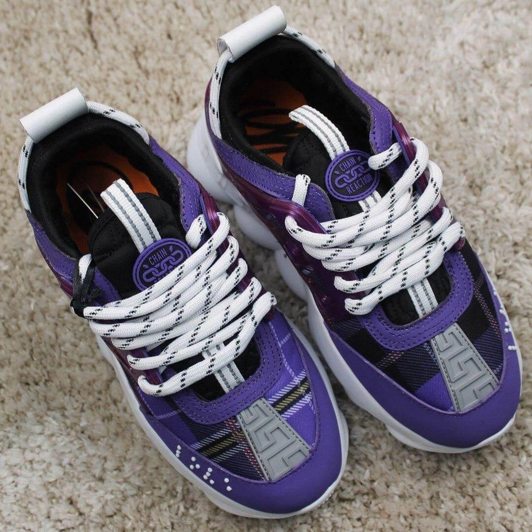 Женские модные кроссовки Versace Chain Violet (Женские кроссовки Версаче в фиолетовом цвете)