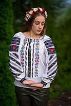 Жіноча блуза із вишивкою із багатим квітковим візерунком «Суцвіття»