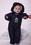 Теплый детский комбинезон для новорожденных King синий, фото 7