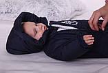 Теплый детский комбинезон для новорожденных King синий, фото 5